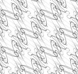 Abstract seamless background / pattern with squiggly lines. Mono