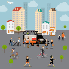 People meeting in the coffee food truck in the city .illustrator