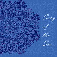 mandala patterned blue background on the marine theme with shells, fish, corals, vector illustration