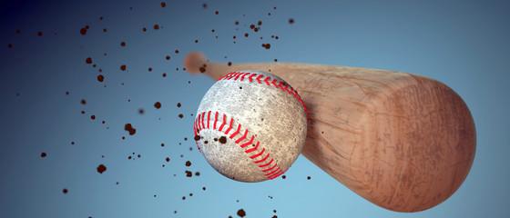 wooden baseball bat hitting a ball