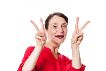 satisfaction concept - playful 30s woman with two v victory signs approving, congratulating for optimism, white background studio.