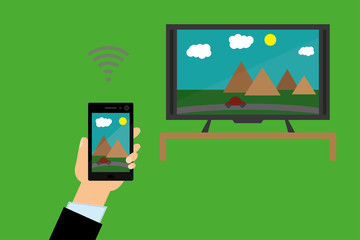 Smartphone streams picture to TV