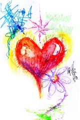 Graffiti red heart and daisy