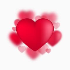 Red Valentine hearts, vector illustration