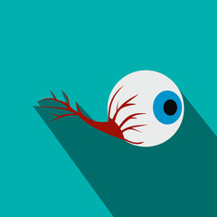 Eyeball flat icon with shadow