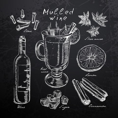 wine, mulled wine and spices drawn in chalk on a blackboard