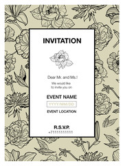 Vector floral invitation for events design with different flowers