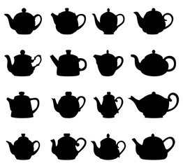 Set of teapot silhouettes, vector illustration