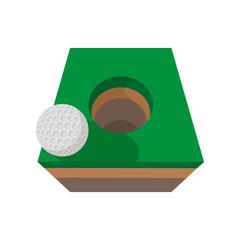 Golf ball on edge of hole cartoon icon