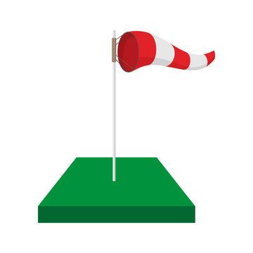 Windsock on golf course cartoon icon