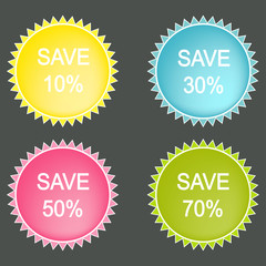 save Percent  Vector Button
