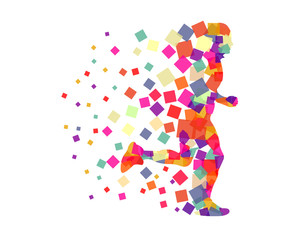 Abstract Running Man Illustration
