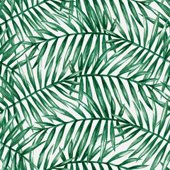 Poster Tropical Leaves Watercolor tropical palm leaves seamless pattern. Vector illustration.