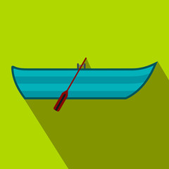 Boat with paddles flat icon