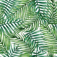 Fotorolgordijn Tropische Bladeren Watercolor tropical palm leaves seamless pattern. Vector illustration.
