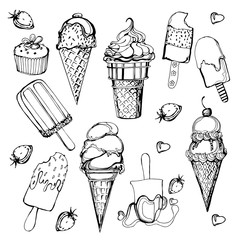 Ice-cream. Set of vector sketches. Vector illustration.