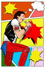 vector illustration - cartoon - man-rocker with microphone