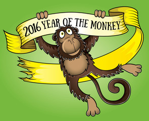 2016 year of the monkey cartoon design