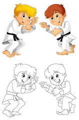 Cartoon child training - coloring page - isolated - illustration for the children