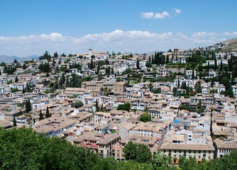 View across the Albaicin District rooftops, Granada.
