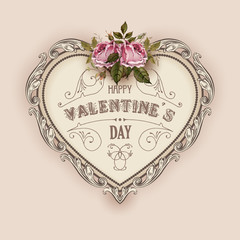 Vintage Valentines Day greeting card With Roses and Heart