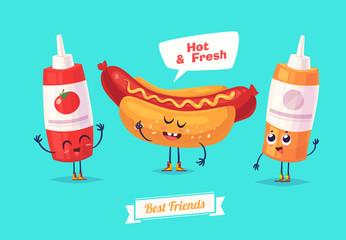 Set of breakfast characters. Vector cute cartoons