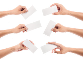 collection of hand holding paper isolated on white background
