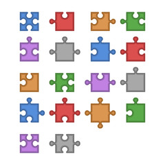 Color Jigsaw Puzzle Blank Constructor. Total Parts Set. Vector