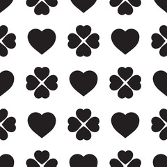 Monochrome seamless pattern with clover leaves, the symbol of St. Patrick's Day in Ireland