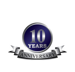 10 anniversary with blue silver ring and ribbon