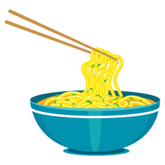 Illustration of Chinese Noodles and Chopsticks