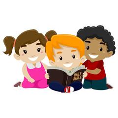 Illustration of Children Reading Bible