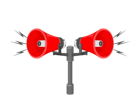 A vector illustration of speakers sounding a warning or siren. 