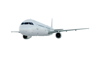 White plane flying. airplane airbus a321 isolate on white background