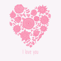 Vector illustration of floral heart and text I love You.