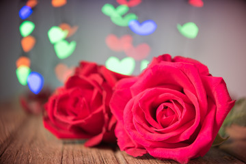 Red rose and heart bokeh, Valentine concept