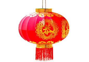 Chinese new year red lantern isolated on white background