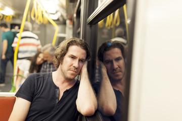 Portrait of subway passanger