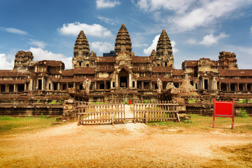 Wall Mural - East facade of ancient complex Angkor Wat in Siem Reap, Cambodia