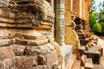 Wall Mural - Closeup view of brickwork of Prasat Kravan temple in Angkor