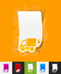 eco car paper sticker with hand drawn elements