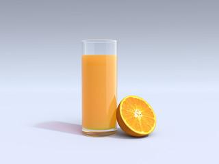 Glass of orange juice and half of orange isolated on white bacground. 3D illustration