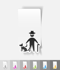 realistic design element. old man and dog