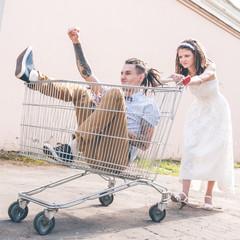 The couple with dreadlocks posing