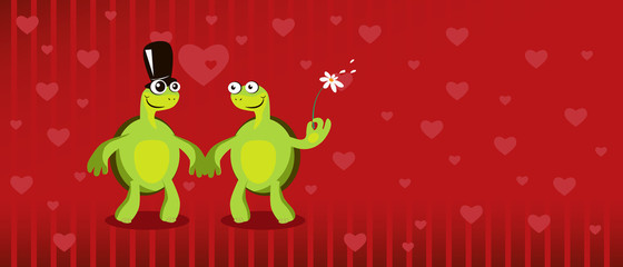 Two funny cartoon turtles with red heart background