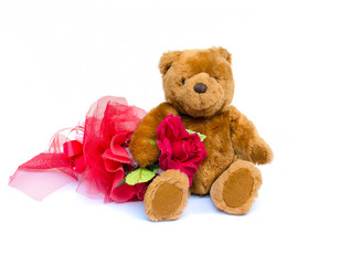 The teddy Bear with red rose sitting on white background.