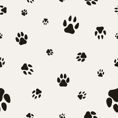 Animal Paw Print Isolated on White. seamless texture