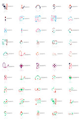 Abstract company logo vector collection. Set of thin line design abstract logotypes. Universal branding concepts
