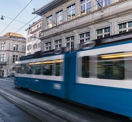 Electric tram in the city of Zurich, Switzerland