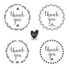 Set of four decorative frames with hand drawn elements . Vector.